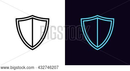 Outline Shield Icon With Editable Stroke. Linear Shield Sign, Armor Silhouette. Online Security And