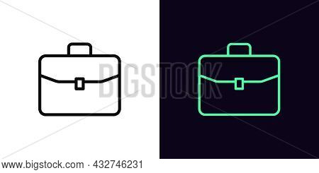 Outline Briefcase Icon With Editable Stroke. Linear Briefcase Sign, Suitcase Pictogram. Business Cas