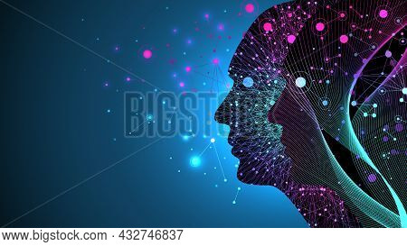 Artificial Intelligence With Digital Brain, Neural Networks And Learning Processing Big Data, Machin