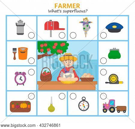 Logic Game For Kids Profession. Farmer. What's Superfluous Mark Items Required For This Profession.
