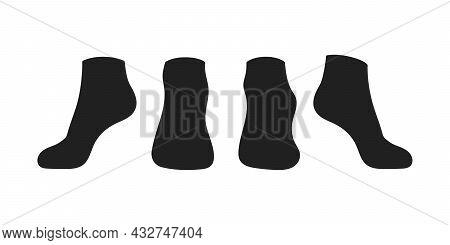 Black Socks Template Mockup Flat Style Design Vector Illustration Set Isolated On White Background.