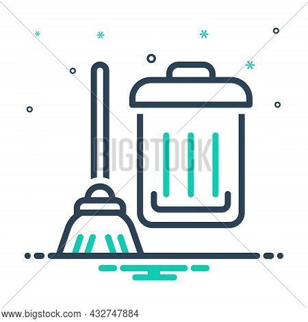 Mix Icon For Clean Squeaky-clean Distinguishable  Cleanly Cleaning Wash Sweeping Bucket Household