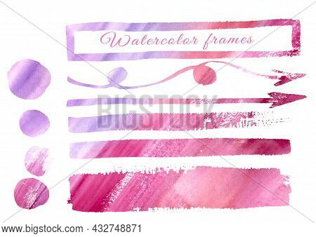 Multicolor Watercolor Gradient Colorful Arrows And Frames Freehand Drawing. Multicolored Set Pink, R