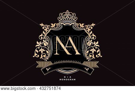 Na Initial Letter With Crown And Ornament Pattern Illustration, Graphic Name Frames And Border Of Fl