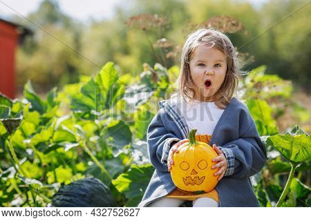 The Girl Holds A Jack-lantern In Her Hands And Makes Grimaces. Pumpkin With A Scary Face For Hallowe