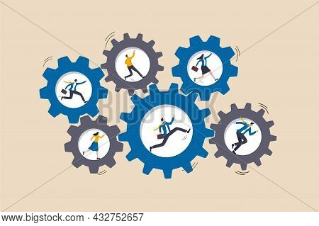 Teamwork Collaborate To Achieve Business Goal, Team Members Help And Support, Cooperate Or Partnersh