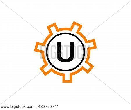 Gear Logo On Letter U. Initial U Gear Letter Logo Design Template. U Gear Engineer Logo