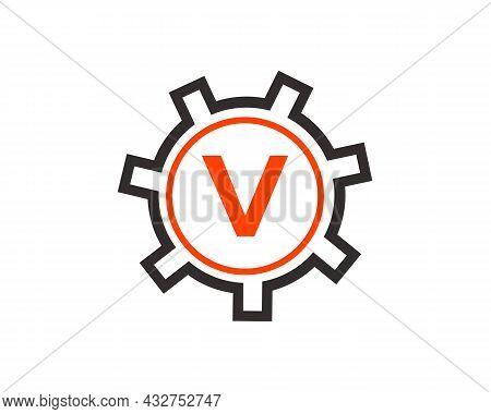 Gear Logo On Letter V. Initial V Gear Letter Logo Design Template. V Gear Engineer Logo