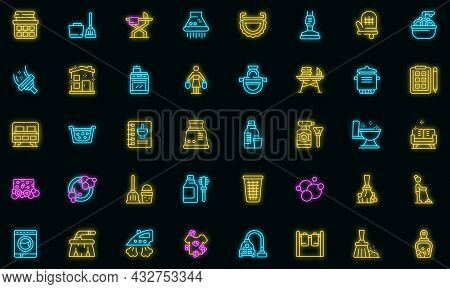 Housewife Icon. Outline Housewife Vector Icon Neon Color On Black