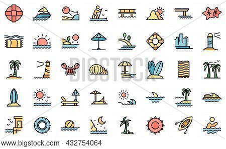 Seaside Icons Set. Outline Set Of Seaside Vector Icons Thin Line Color Flat Isolated On White