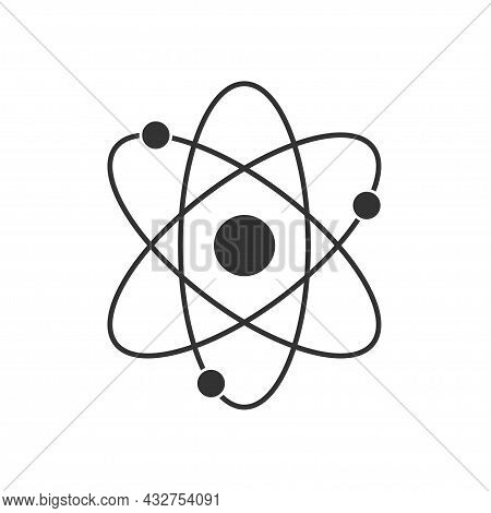 Atom Icon Isolated On White Background. Structure Of The Nucleus Of The Atom. Around The Atom, Gamma