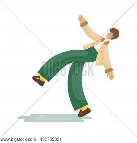 Vector Illustration Of A Man Who Slipped On The Ice On The Sidewalk.