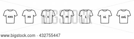 Set Of T-shirts Icons With Inscriptions Of The Size Of Clothes Isolated On A White Background. Sizes