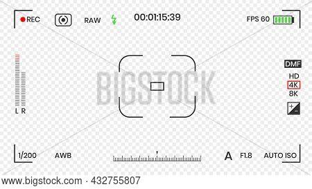 Camera Viewfinder Video Or Photo Frame Recorder Flat Style Design Vector Illustration. Digital Camer
