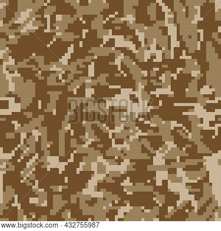 Digital Camouflage. Seamless Pixeled Camo Pattern. Military  Texture. Brown Desert Color.  Vector Fa