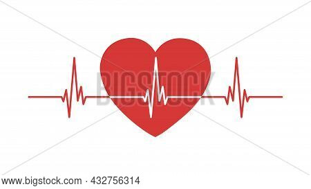 Heartbeat Line Isolated On White Background. Heart Rate, Heart Rate Or Cardiogram Concept. Ecg. Vect