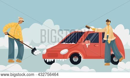 Vector Illustration Of A Man In Winter Clothes Cleaning Snow In A Car Parking Lot. A Man Sweeps Snow