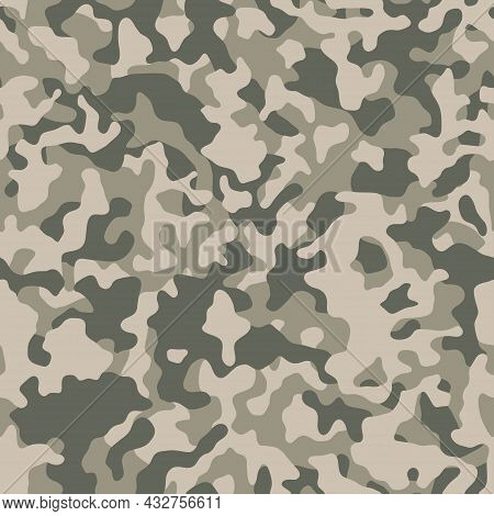 Seamless Camouflage Pattern. Light Green Texture, Vector Illustration. Camo Print Background. Abstra