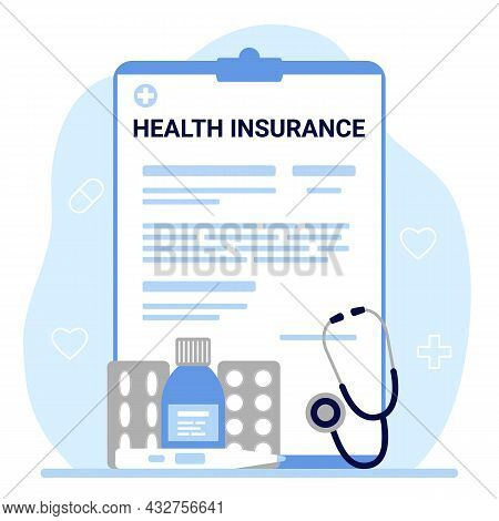 Health Insurance, Tax Claim Law Document. Count Form Of Healthcare. Vector
