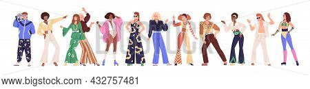 Set Of People From 80s. Man And Woman Dance Disco In Retro-styled Fashion Outfits Of 1980s. Stylish