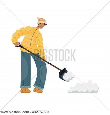 Vector Illustration Of A Man In Winter Clothes Cleaning Snow On The Street.