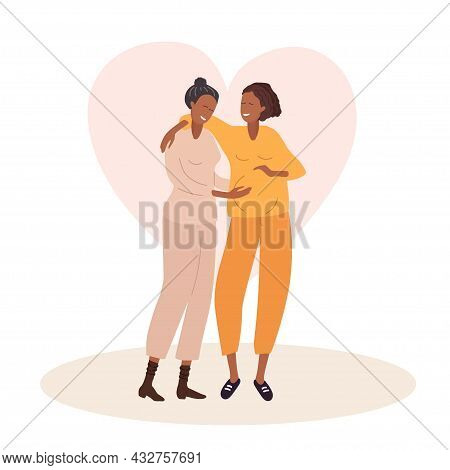 Homosexual Couple Waiting For Baby. Two Happy Women Embrace And Smile. African American Gay Couple E