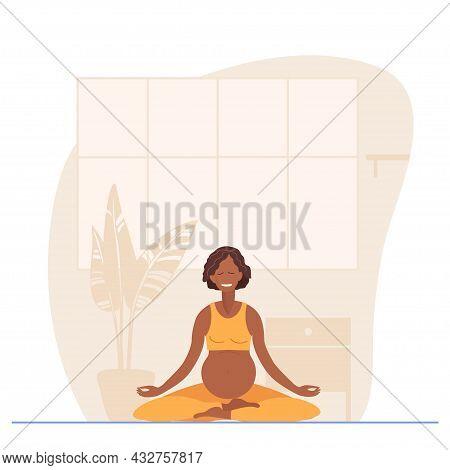 Pregnant African American Woman Meditates On Mat At Home. Prenatal Yoga, Meditation, Relax, Recreati