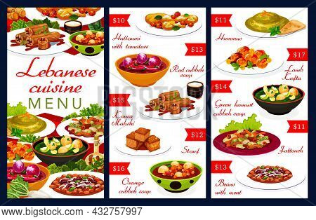 Lebanese Cuisine Menu With Vector Dishes Of Arab Food. Hummus, Vegetable Soups And Meat Bean Stew, H