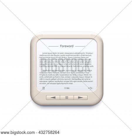 Portable Electronic Book Reader, Mobile Device Icon. E-reader, Mobile Phone Or Computer Reading Appl