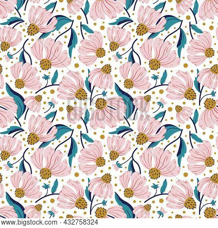 Floral Seamless Vector Pattern With Pink Wildflower. Pink Floral Background For Textile, Fabric Wall