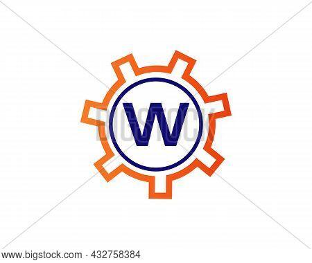 Gear Logo On Letter W. Initial W Gear Letter Logo Design Template. W Gear Engineer Logo