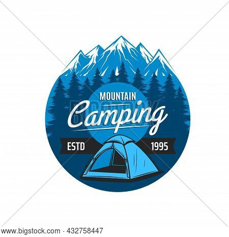 Mountain Camping Icon, Vector Emblem For Expedition, Hiking And Rock Climbing Club. Tent On Snowy Pe