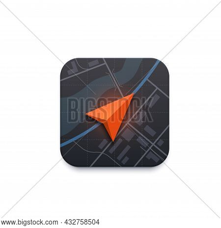 Map Navigation Icon, Road Travel Direction Arrow Pointer On City Map, Vector App. City Map Navigatio