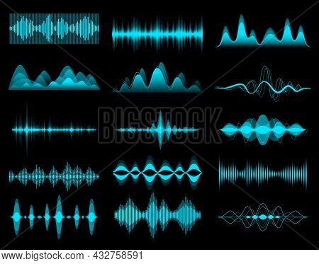 Hud Sound Music Equalizer, Audio Waves. Iinterface Elements, Vector Voice Frequency Waveform. Hud So