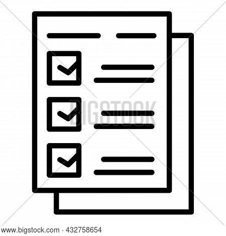 Work Checklist Icon Outline Vector. Check Clipboard. Document Checkbox