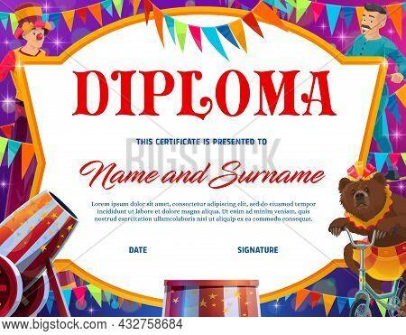 Kids Education Diploma With Shapito Circus Characters Vector Frame Border. School Graduation Diploma