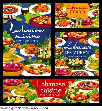 Lebanese Cuisine And Arab Food Vector Dishes Of Vegetable Dumpling Soups, Hummus, Meat Bean Stew. Ha