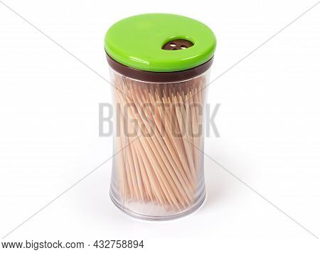 Wood Toothpicks In Special Transparent Plastic Container With Dispenser In The Cap, On A White Backg