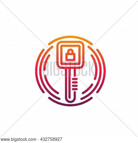 Cyber Security Icon With Vector Digital Access Key And Padlock. Network Data, Information And Privac