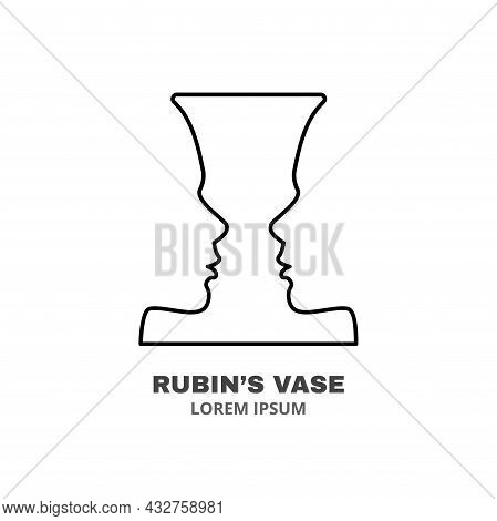 Psychology Line Icon Concept. Rubin, S Vase As Concept Of Self Knowing Outline Stroke Element. Psych