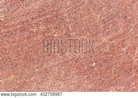 Flat Side Of The Block Of Red Granite With Traces Of Working Of The Stone Cutting Tool Close-up, Tex