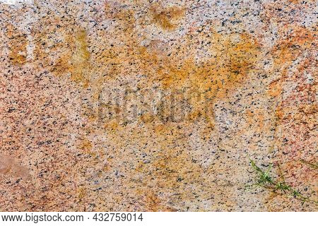 Torn Edge Of The Large Block Of Yellow Granite, Texture, Background