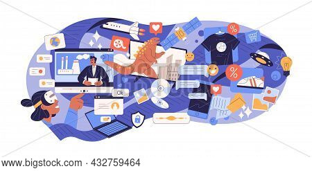 Excess Of Online Information In Social Media. Person Surfing Internet Overloaded With Lot Of Content