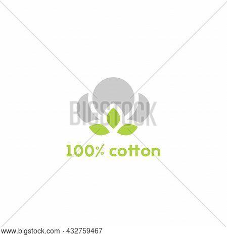Cotton Seed Icon. 100 Cotton Green Label. Natural Fiber Sign. Organic Fabric Symbol. Vector Illustra