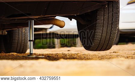 Camper Leveling Support Hydraulic Steady Leg In Use. Caravaning And Accessories For Motorhome.