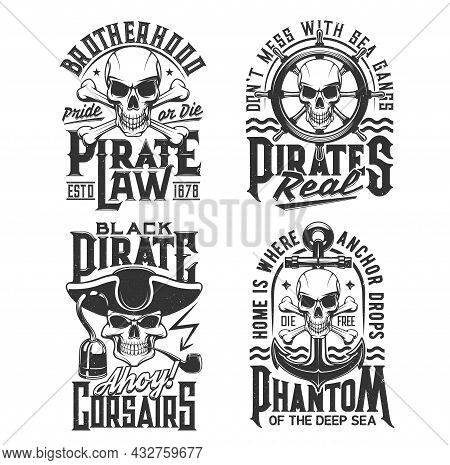 Pirate Captain And Corsair Skull T-shirt Print Vector Mockup Of Piracy. Skulls And Skeleton Head Of