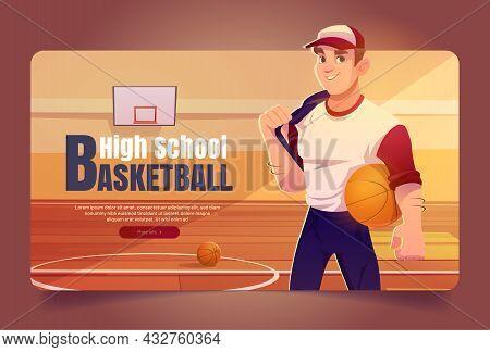 High School Basketball Cartoon Web Banner, Sportsman In Team Uniform Holding Ball On Gymnasium Backg