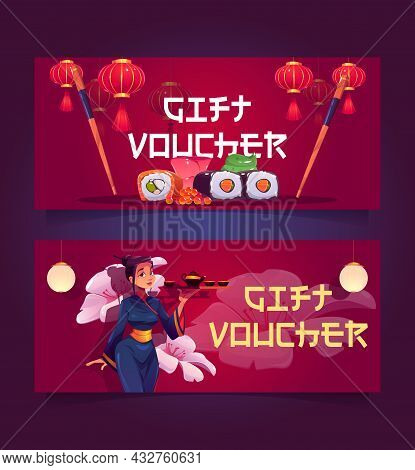 Japanese Or Chinese Restaurant Gift Voucher, Certificate For Visiting Asian Cuisine, Sushi Bar Or Ca