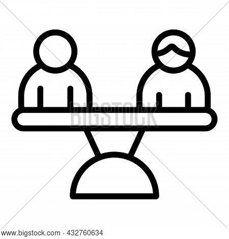 Gender Balance Icon Outline Vector. Equal Rights. Equity Work