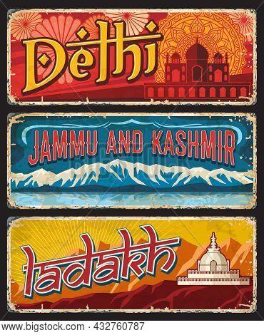 Delhi, Jammu And Kashmir, Ladakh Indian States Vintage Plates Or Banners. Vector Landmarks Of India,